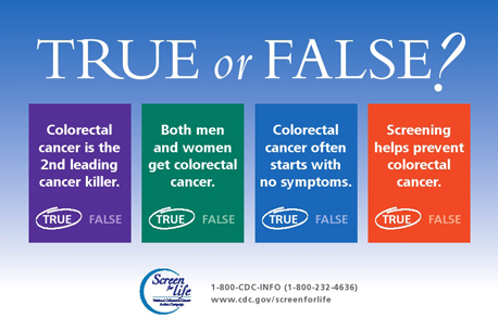 Banner in honor of Colorectal Cancer Awareness Month